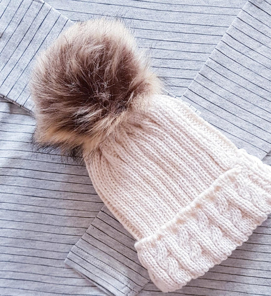 Cable knit single pom hats