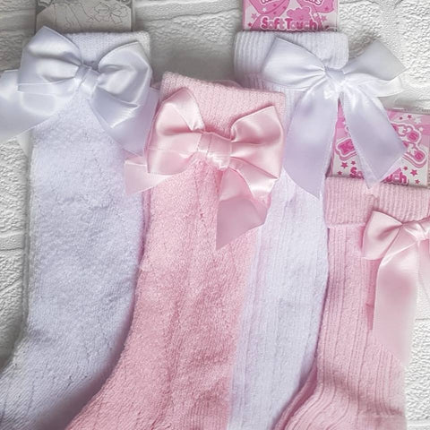 Bow knee high socks - various colours