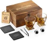 Whiskey Stones Gift Set for Men and Women with Wooden Box and XL 2 Stainless Steel Chilling Whiskey Balls