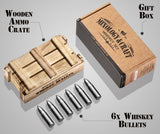 Whiskey Stone Bullets Gift Set in a Wooden Army Crate