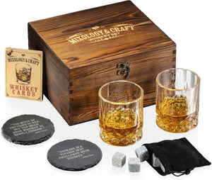 Whiskey Stones Gift Set for Men and Women with Wooden Box and Velvet Bag