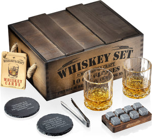 Whiskey Stones Gift Set for Men & Women Rustic Dark Wood Crate