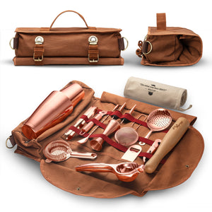 Travel Bartender Kit with Stylish Bar Bag with Copper Tools