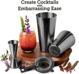Cocktail Shaker Boston Shaker Set: Professional Martini Shakers with Strainer and Japanese Jigger (Gun-Metal Black)