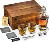 Whiskey Decanter and Glasses Gift Set with Burnt Wooden Box and Stainless steel Chilling Balls