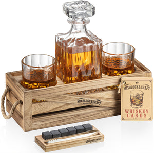 Whiskey Decanter Set with glasses and chilling stones