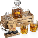Whiskey Decanter with Glasses Stones Set and Rustic Wood Stand