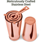 Cocktail Shaker Boston Shaker Set: Professional Martini Shakers with Strainer and Japanese Jigger (Copper)