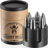 Whiskey Stainless Steel Bullet shaped Stones Gift Set with Revolver Freezer Base
