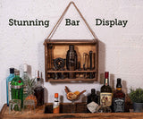 Bar Tool Set with Rustic Wood Stand