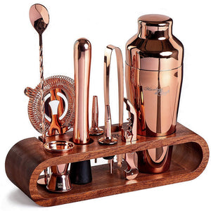 Rose-Gold Bar Tool Set with Bamboo Stand