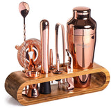 Copper Bar Tool Set with Bamboo Stand