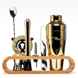 Gold Bar Tool Set with Bamboo Stand