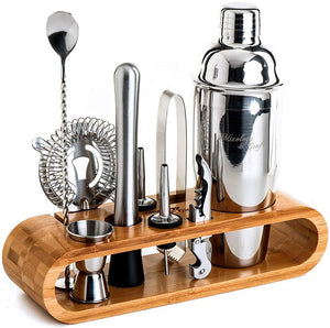 Mixology Bartender Kit with Stylish Bamboo Stand (Stainless-Steel Silver)