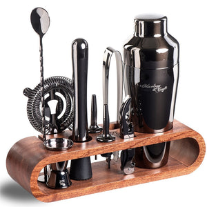 Balck Bar Tool Set with Mahogany Stand