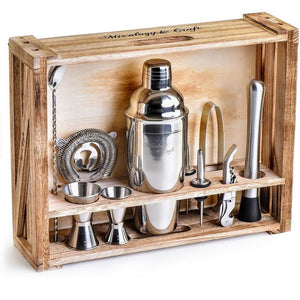 Mixology Bartender Kit with Rustic Wood Stand