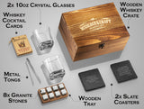 Whiskey Stones Gift Set for Men and Women with Wooden Box and Elegant Glasses