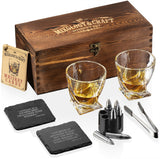 Whiskey Stones Gift Set for Men and Women with Wooden Box and Stainless Steel Whiskey Bullet Chillers