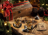 Whiskey Stones Gift Set for Men and Women with Burnt-Wood Gift Box
