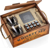 Whiskey Stones Gift Set for Men and Women with Rustic Wooden Crate