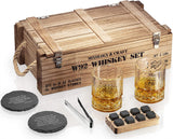 Whiskey Stones Gift Set for Men with Wooden Army Crate