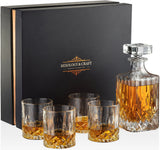 Whiskey Crystal Decanter Set with10oz Whiskey Glasses in a Classy Gift Box