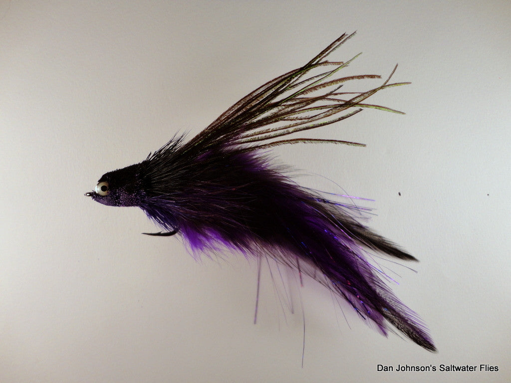 Flat Nose Andino Deceiver - Purple Black, Hackle - IF132