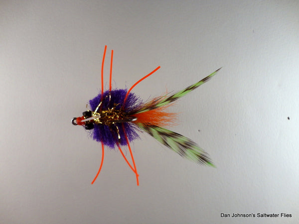 Louisiana Rattle Crab, Purple Orange Chartreuse - CB037