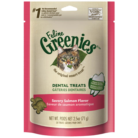 Greenies Cat Dental Treats - Savory Salmon Flavor 2.5oz