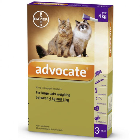 Bayer Advocate Flea and Heartworm Treatment for Cats (4-8kg)