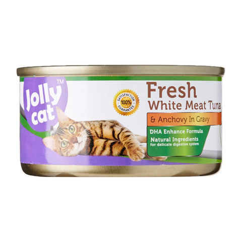 Jolly Cat Fresh White Meat Tuna And Anchovy In Gravy 80g x 24 cans