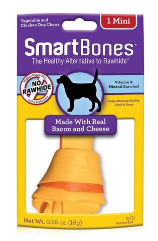 SmartBones Bacon & Cheese Case  Classic Bone Chews Mini 1s x 4 Packs