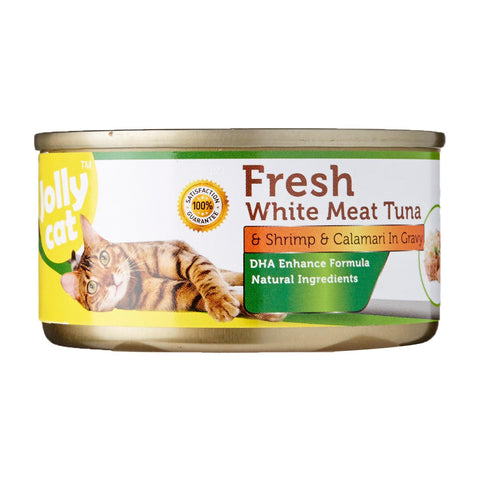 Jolly Cat Fresh White Meat Tuna And Shrimp And Calamari In Gravy 80g x 24 cans