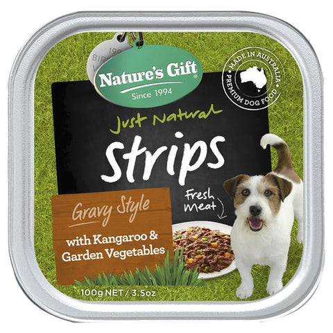 Natures Gift Strips With Kangaroo & Garden Vegetables Dog Tray 100g x12