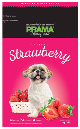 3 Packs of Prama Delicacy Snack Fresh Strawberry 70g