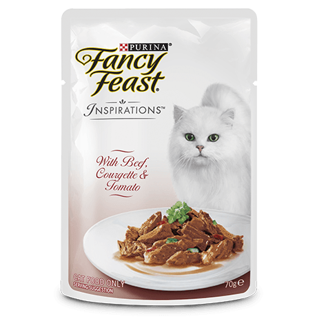 Fancy Feast Inspiration Beef Courgette Tomato Pouch 70g Packs of 6