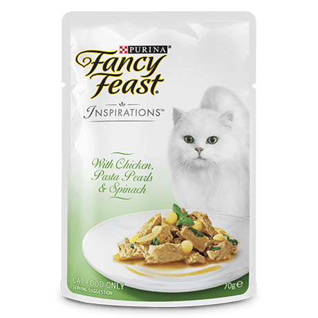 Fancy Feast Inspiration Chicken Paste Pearls Spinach Pouch 70g Packs of 6