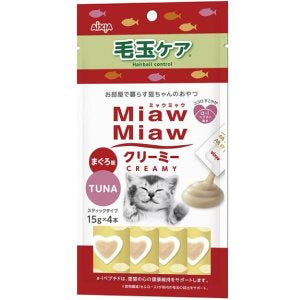 Aixia Miaw Miaw Creamy Tuna - Hairball Control 15g x 4 Cat Treat