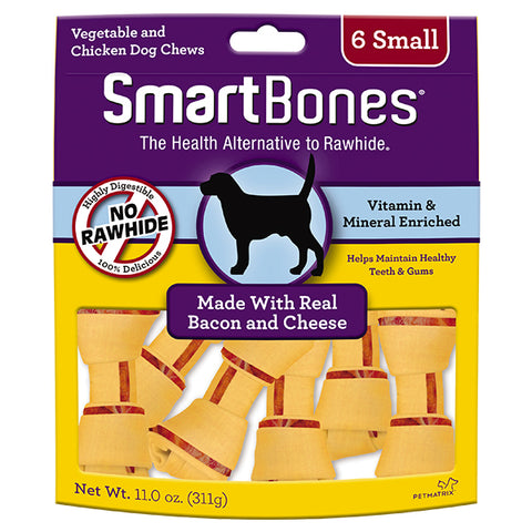 SmartBones Bacon & Cheese Case  Classic Bone Chews Small 6s