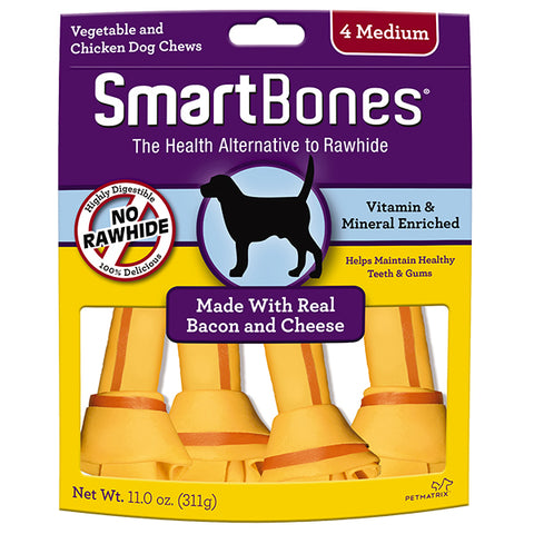SmartBones Bacon & Cheese Case  Classic Bone Chews Medium 4s
