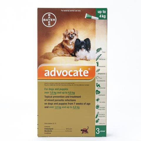 Bayer Advocate Flea and Heartworm Treatment for Dogs (Below 4kg)