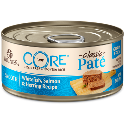 Wellness CORE Pâté Salmon, Whitefish & Herring Canned Cat Food 155g x 6 Cans