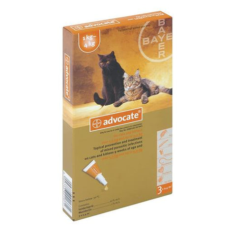 Bayer Advocate Flea and Heartworm Treatment for Cats (1 - 4kg)