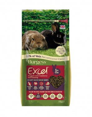 BURGESS EXCEL NUGGETS WITH  CRANBERRY & GINSENG FOR MATURE RABBIT 2KG