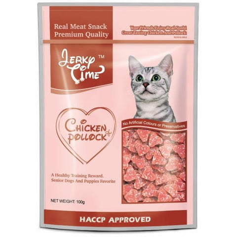 Jerky Time Cat Chicken And Pollock Heart Shape 100g