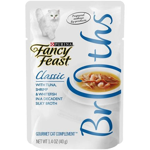 Fancy Feast Classic Broths Tuna Shrimp And Whitefish 40g Packs of 8