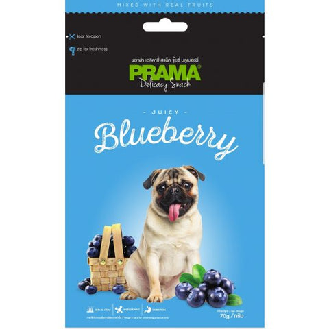 3 Packs of Prama Delicacy Snack Juicy Blueberry 70g