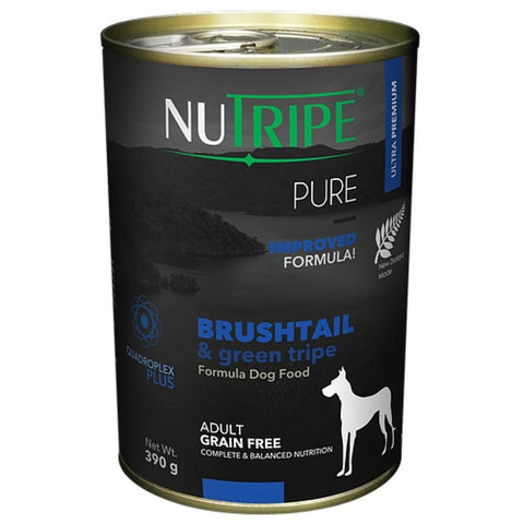 6 Cans of Nutripe Pure Brushtail & Green Tripe Canned Dog Food 390g