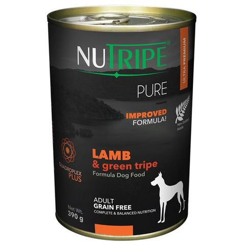 6 Cans of Nutripe Pure Lamb & Green Tripe Canned Dog Food 390g