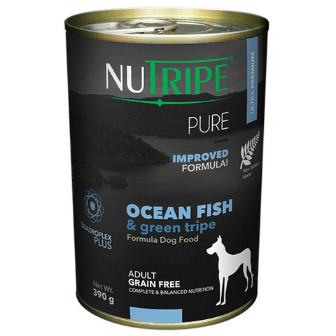 6 Cans of Nutripe Pure Ocean Fish & Green Tripe Canned Dog Food 390g